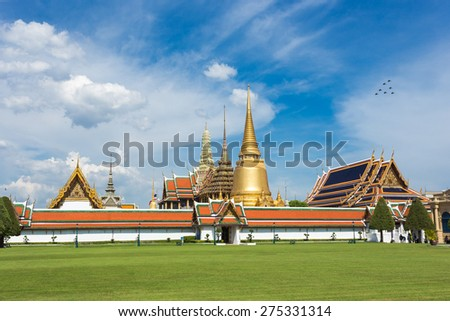 Wat Phra Kaew, Grand palace, Temple of the Emerald Buddha with blue sky in Bangkok,Thailand - stock photo