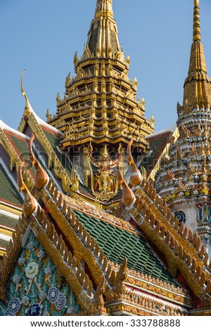 Wat Phra Kaew is one of the most popular tourists destination in Bangkok, Thailand - stock photo