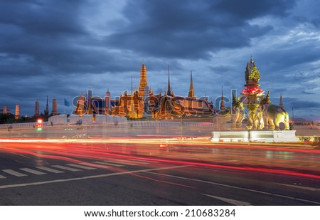 Wat Phra Kaew or Temple of the Emerald Buddha at blue sky in Bangkok Thailand
