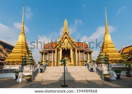 Wat Phra Kaew, Temple of the Emerald Buddha, Bangkok, Thailand.  - stock photo