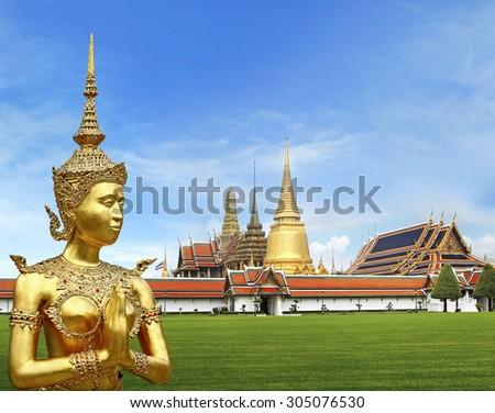 Wat Phra Kaew ,Temple of the Emerald Buddha ,full official name Wat Phra Si Rattana Satsadaram in Bangkok ,Thailand - stock photo