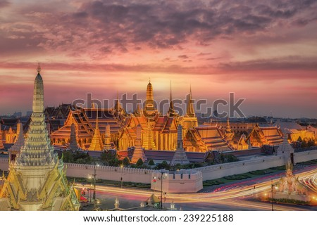 Wat Phra Kaew, Temple of the Emerald Buddha,Grand palace at twilight in Bangkok, Thailand - stock photo