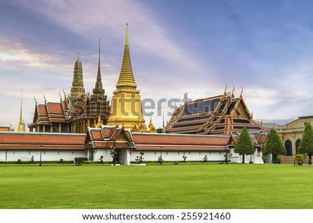 Wat Phra Kaew , Temple of the Emerald Buddha in the Sunrise Bangkok, Thailand - stock photo