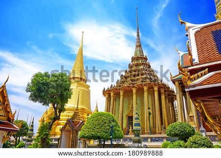 Wat Phra Kaew, Temple of the Emerald Buddha. The Grand Palace Bangkok Thailand  - stock photo