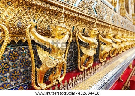 Wat Phra Kaew, Temple of the Emerald Buddha. The Grand Palace Bangkok. Thailand