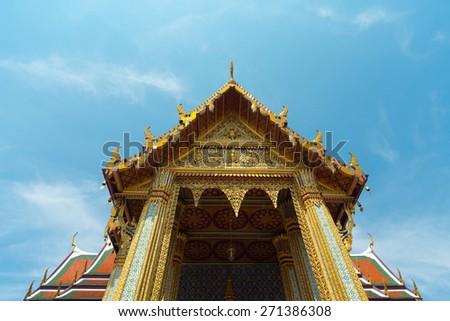 Wat Phra Kaew thailand  ultra wide angle view - stock photo