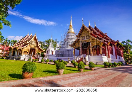 Wat Phra Sing Temple located in Chiang Mai Province ,Thailand, Asia. - stock photo
