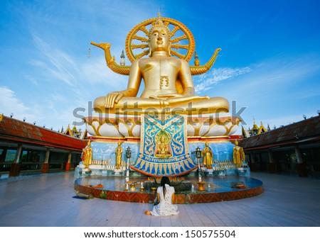 Wat phra yai, the big buddha temple at Koh Samui, Thailand - stock photo