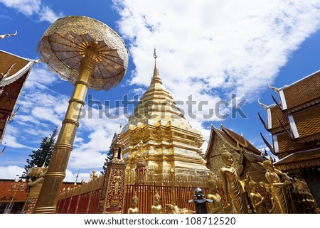 Wat Phrathat Doi Suthep temple in Chiang Mai, Thailand. - stock photo