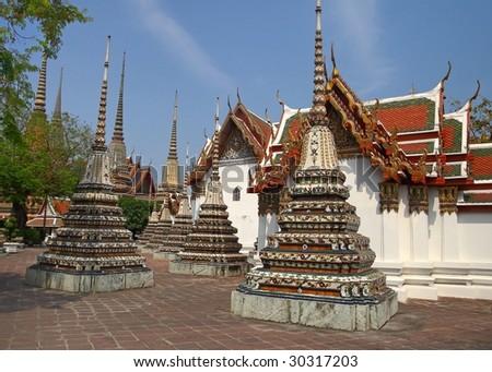 wat po in bangkok thailand - stock photo