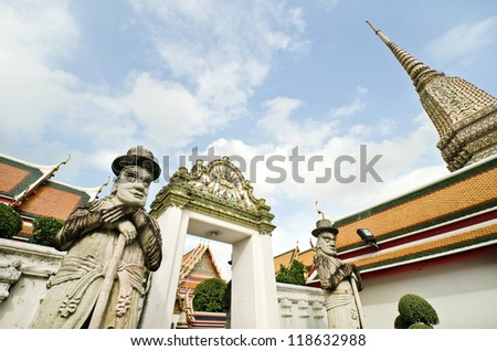Wat Po, The Temple of reclining buddha, Bangkok, Thailand. This is traditional and generic style in Thailand. No any trademark or restrict matter in this photo. - stock photo