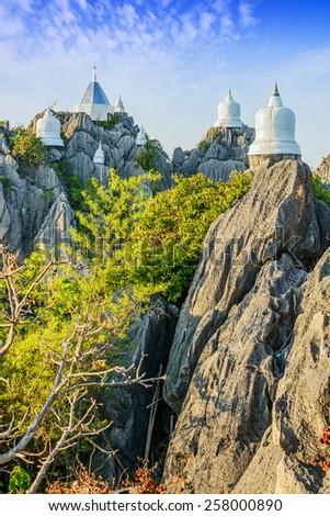 Wat Prajomklao Rachanusorn beautiful Thai Temple, Amazing temple on top of mountain at Lampang, North of Thailand. - stock photo