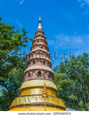 Wat ram poeng pagoda,Thailand the Buddhist temple in Chiang Mai, Thailand. - stock photo