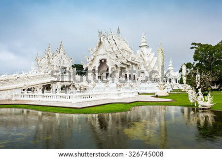 Wat Rong Khun Temple in Chiang Rai, Thailand - stock photo
