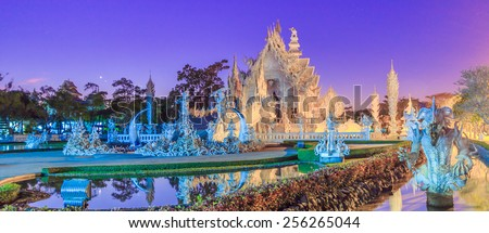 Wat Rong Khun Thai temple - at Chiang rai Province Asia Thailand,They are public domain or treasure of Buddhism, no restrict in copy or use  - stock photo