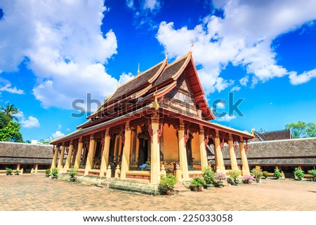 Wat Saket  in Vientiane, Laos , They are public domain or treasure of Buddhism, no restrict in copy or use  - stock photo