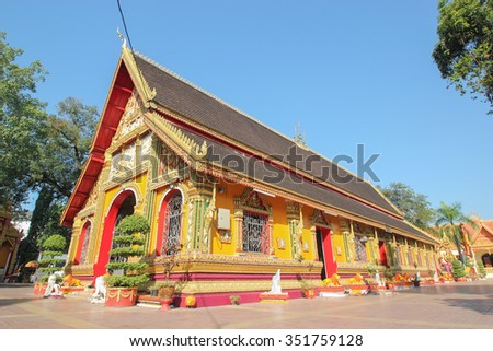 Wat Si Muang is a Buddhist temple in Vientiane, This is temple traditional and generic style in Laos. No any trademark or restrict matter in this photo. - stock photo
