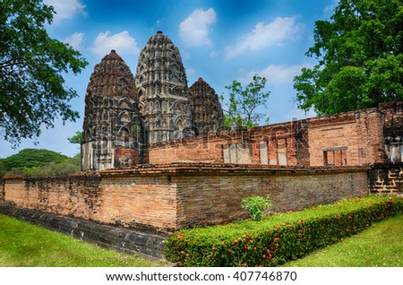 Wat Si Sawai Khmer-style temple in Sukhothai Historical Park, Thailand - stock photo