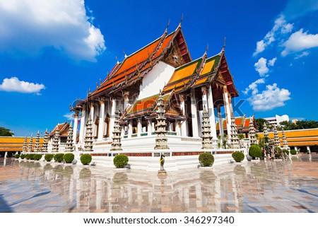 Wat Suthat Thep Wararam is a Buddhist temple in Bangkok, Thailand - stock photo