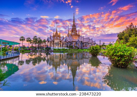 Wat thai, sunset in temple Thailand,They are public domain or treasure of Buddhism, no restrict in copy or use  - stock photo