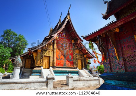 Wat xiang thong,temples in Laos - stock photo