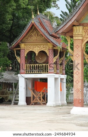 Wat Xieng Thong's drum tower in the temple's grounds in Luang Prabang, Laos. - stock photo