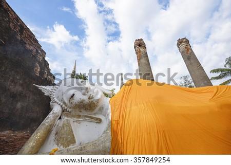 Wat yai chai mongkhon is a Buddhist temple in Ayutthaya, Thailand - stock photo