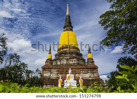 Wat Yai Chai Mongkhon, old buddhist temple of Ayuthaya Province Thailand - stock photo