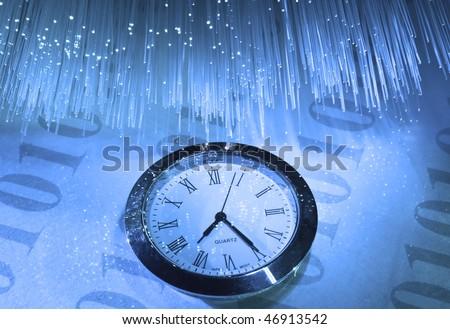 watch against fiber optic background - stock photo
