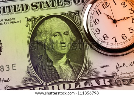 Watch and banknote. Time is money concept - stock photo