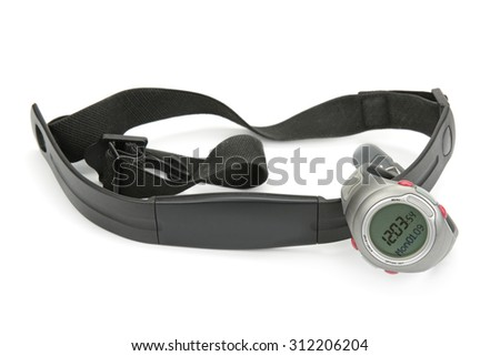 watch and chest strap of heart rate monitor on white - stock photo