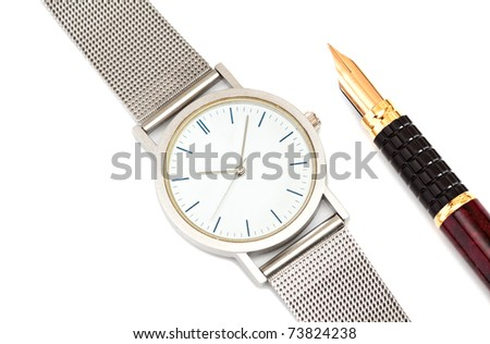 Watch and pen isolated on a white background. - stock photo