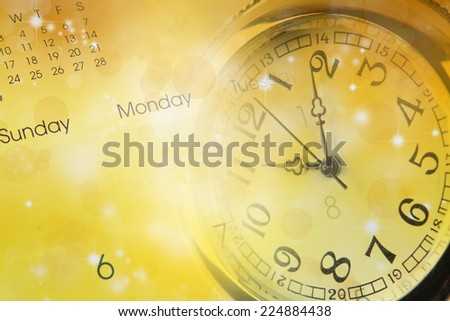 Watch, calendar and abstract background - stock photo