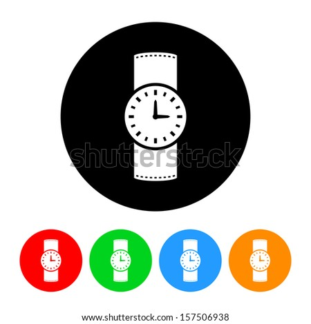 Watch Icon with Color Variations.  Raster version. - stock photo