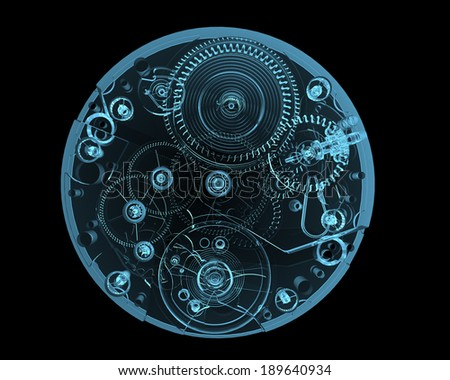 Watch internals x-ray blue transparent isolated on black - stock photo
