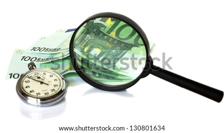 Watch, magnifier and euro on a white background - stock photo