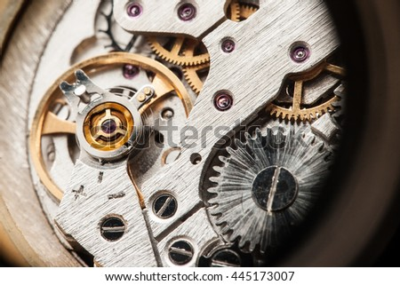 Watch mechanism close up