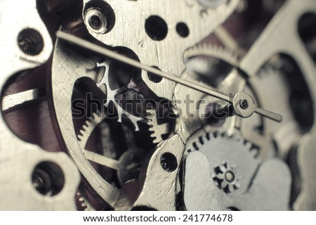 Watch mechanism macro shot - stock photo