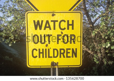 Watch out for children sign