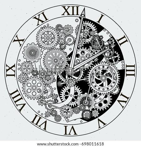 Cogs Gears Clock Stock Vector 150798050 - Shutterstock
