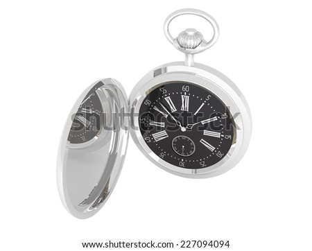 Watch silver sixty seconds  pocket vintage isolated illustration - stock photo