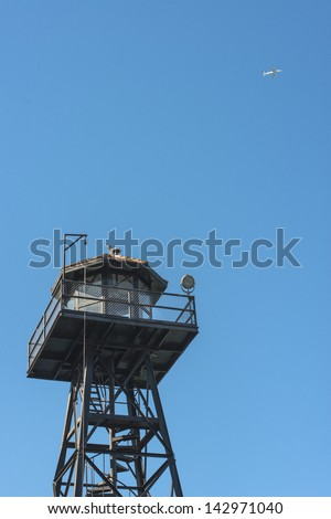 Watch tower at Alcatraz - stock photo