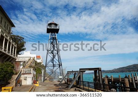 Watch tower in Alcatraz prison - stock photo