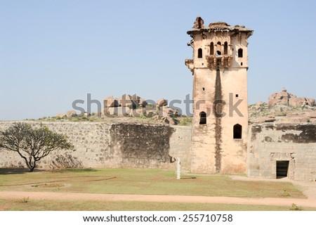Watch tower of royal fort Zenana Enclosure at Hampi on India - stock photo