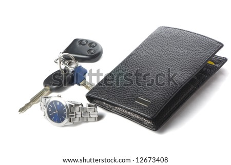 watch, wallet and keys for car on the white background with shadow. - stock photo