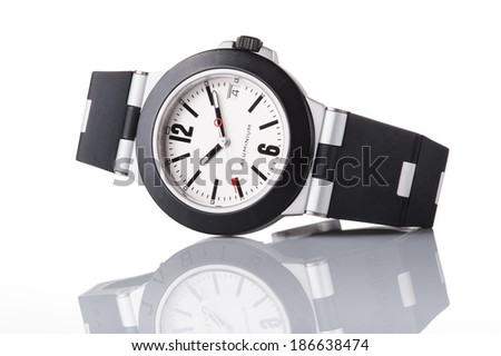 Watch with reflection isolated in white background