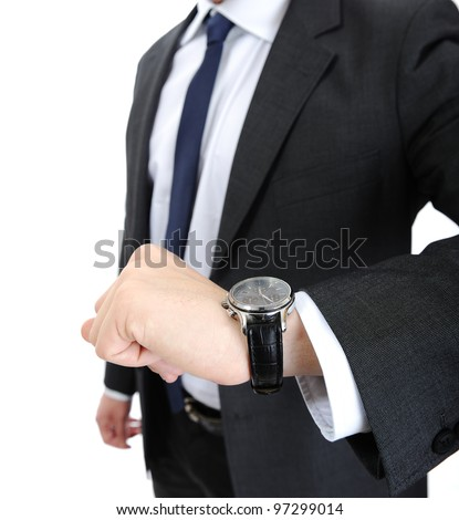 Watch wrist hand business man - stock photo