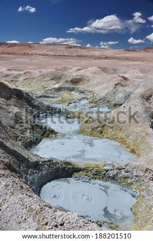 Watch your step at Sol de Manana Geysers, Sur Lipez, Bolivia - stock photo