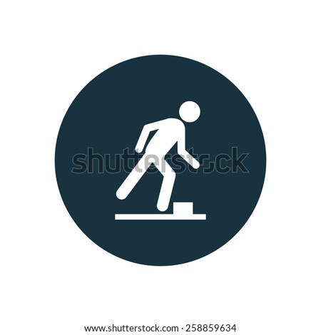watch your step icon on white background - stock photo