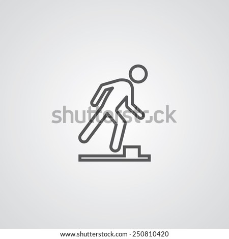 watch your step outline thin symbol, dark on white background, logo creative template  - stock photo